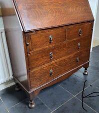 Traditional Vintage Oak  Slope Fronted Writing Bureau Desk