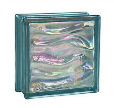 6 Stück Glasbausteine Glasbaustein Glassteine AQUA PERLMUTT Indigo 19x19x8cm