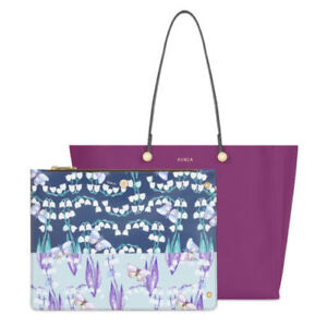 FURLA Eden Medium Tote Handbag in Bouganvile Magenta Purple Leather