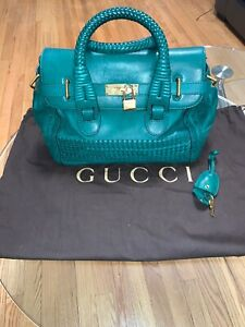 Gucci 263945 Top Handle Shoulder Hand Tote Bag Green CalfSkin Leather Used Ex++