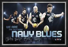 Carlton Signed AFL Player Print Framed Marc Murphy Chris Judd Byrce Gibbs Yarran