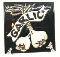 "Ceramic Art Tile Hand Painted Garlic 6"" Trivet Wall Hanging"