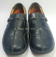 CLARKS UNSTRUCTURED 85071 Black Pebble Leather Comfort Slip On Flats SHOES 8.5