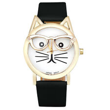 New Fashion Cute Glasses Cat Women Ladies Watch Analog Quartz Dial Wrist Watches