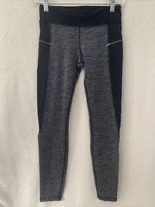 Athleta Girl Texture Zip Around Tight Leggings Herringbone Black Size Large 12