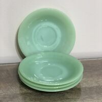 Vintage FIRE KING Jadeite Jade-ite Jane Ray Saucer Set of 4