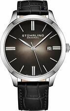 Stuhrling Cuvette II Men's 42mm Black Calfskin Krysterna Waterproof 165ft Watch