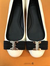 Tory Burch Gemini Link Bow Flat Bleach/Black Size 10.5 New and Authentic