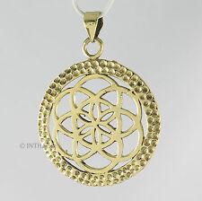 Kettenanhänger Lebensblume - Medaillon Amulett Anhänger 3,5 cm Messing  InoM08