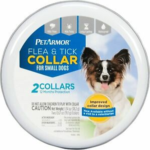 Pet Armor Flea & Tick Collar for Small Dogs 2 Collars 12 Month Protection