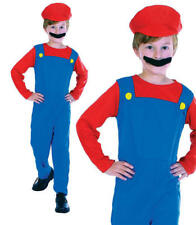 Childrens Kids Plumber Boy Fancy Dress Costume Mario Brothers Childs Outfit M