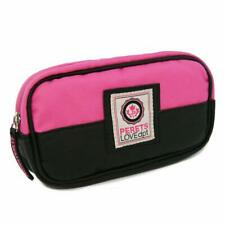 PINK & Black Leather Zipper Pencil Case Cosmetic Bag Pouch Wallet Travel Bag
