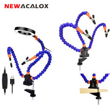 NEWACALOX Third Hand Tool Soldering 3X Magnifier Lamp Flexible 3 Arms Clamp Base