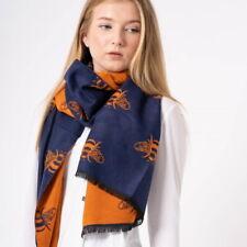 Navy Bee Winter Scarf Reversible Cosy Warm Blanket Shawl Scarfs Orange Large
