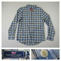 Vineyard Vines Mens Blue Plaid Long Sleeve Button Front Casual Linen Shirt Small