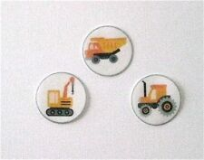 PRE CUT 12 EDIBLE RICE PAPER WAFER CARD CONSTRUCTION TRUCK CAKE CUPCAKE TOPPERS