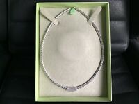 Ross Simons Sterling Silver Braided Collar Necklace with 6-row Diamond Center