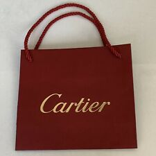 "NEW Authentic Cartier Small Shopping Gift Paper Bag Gold Logo 8""X7"""