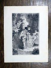 Eau-forte de W. Marks d'ap. A. Watteau PÈLERINAGE ÎLE DE CYTHÈRE Anges Angelots