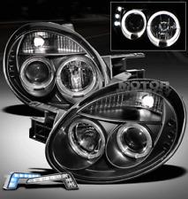 03-05 DODGE NEON HALO LED BLACK PROJECTOR HEAD LIGHTS W/BLUE DRL KIT LEFT+RIGHT