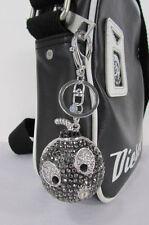 Big silver bird metal key chain wallet charm black angry boom rhinestones large