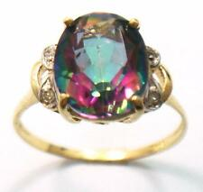 FINE 10KT YELLOW GOLD OVAL MYSTIC TOPAZ & DIAMOND RING SIZE 7 R1413