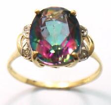 FINE 10KT YELLOW GOLD OVAL MYSTIC TOPAZ & DIAMOND RING SIZE 7 R1413