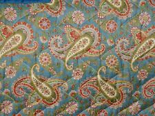 """Vintage Cushonia Double Blue Paisley Quilt Bed Cover 85"""" x 68"""""""