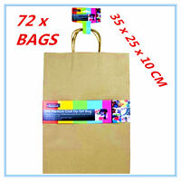 72 X LARGE CRAFT DIY BROWN PAPER GIFT BAGS WITH HANDLE PARTY WRAP WRAPPING A