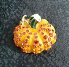 Enamel Rhinestone Pumpkin Pin Brooch Halloween Autumn Fall Harvest