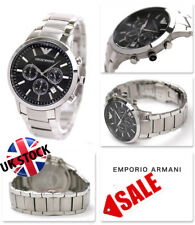 NEW EMPORIO ARMANI AR2434 MEN'S STAINLESS STEEL BLACK DIAL MEN'S WATCH UK STOCK