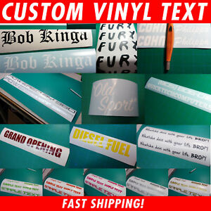 Custom Text/Name Decal Window Sticker | You pick Font, Color & Size | Fast Ship!