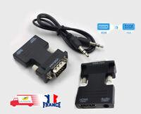 HDMI femelle Vers VGA mâle adaptateur vidéo Câble convertisseur audio HD 1080p