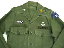 Vintage 60s Sateen Shirt Military Vietnam 8th Infantry Airborne Rigger Jump Wing