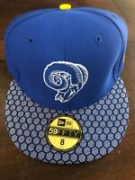 Los Angeles Rams New Era Fitted 8 Hat Cap Blue Nfl Football Retro New Msrp $40