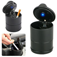 Car Auto Blue LED Light Up Ashtray Holder Smokeless Ash Cigarette Cylinder Cup