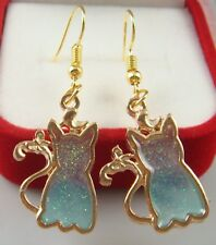 Painted Cocktail Lady Earring da12fzxw 18K gilded Hook -2.5''cat Oil