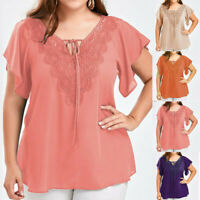 Plus Size Women Fashion Lace Up V-Neck Solid Blouse Chiffon Short Sleeve Tops