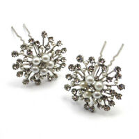 Silver Crystal & Pearl Large Snowflake Hair Pins Clips Grips Bridal Wedding Prom