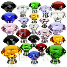 4x 40mm Diamond Crystal Glass Door Knobs Drawer Cabinet Furniture Kitchen Handle