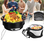Portable 2 in 1 Cooler Bag with BBQ Charcoal Grill Combo Set Camping Tailgating