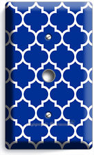 Geometric Blue White Arabic Pattern Light Dimmer Cable Wall Plate Room Art Decor