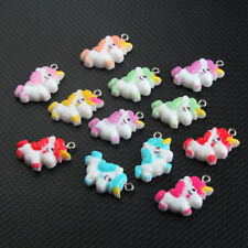 10x Cute Cartoon Resin Unicorn Charm Pendant Mixed Color 25*16MM For DIY Bracele