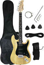 ~Sale New Crescent NATURAL Electric Guitar+Strap+Gigbag+WARRANTY