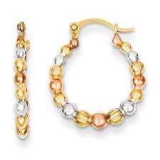 Madi K 14k Tri Color Gold Beaded Round Hinged Post Hoop Earrings