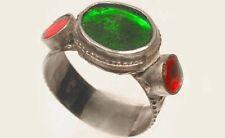 "18thC Crimean Tatar Silver Ring Tourmaline Green Ruby Red Glass ""Gemstones"" Sz8¾"