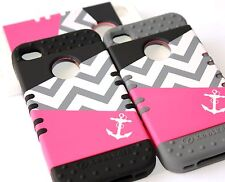iPhone 4 4G 4S - Hard & Soft Rubber Hybrid Armor High Impact Case Cover ANCHOR