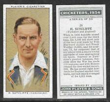 PLAYER'S 1934 CRICKETERS H.SUTCLIFFE Card No 26 of 50 CRICKET CIGARETTE CARD