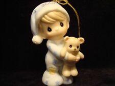 Precious Moments Ornament-Boy/Teddy Bear-2001 Baby's 1St-With Box