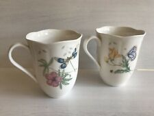 Lenox Butterfly Meadow set of 2 Mugs   Dragonfly and Fritillary designs NWT